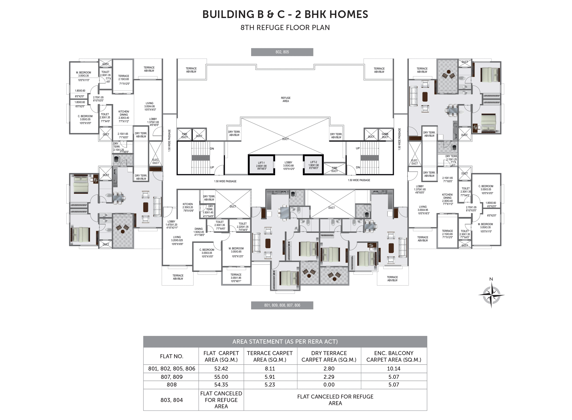 Pristine Prolife 3_Building B & C - 8TH REFUGE FLOOR PLAN