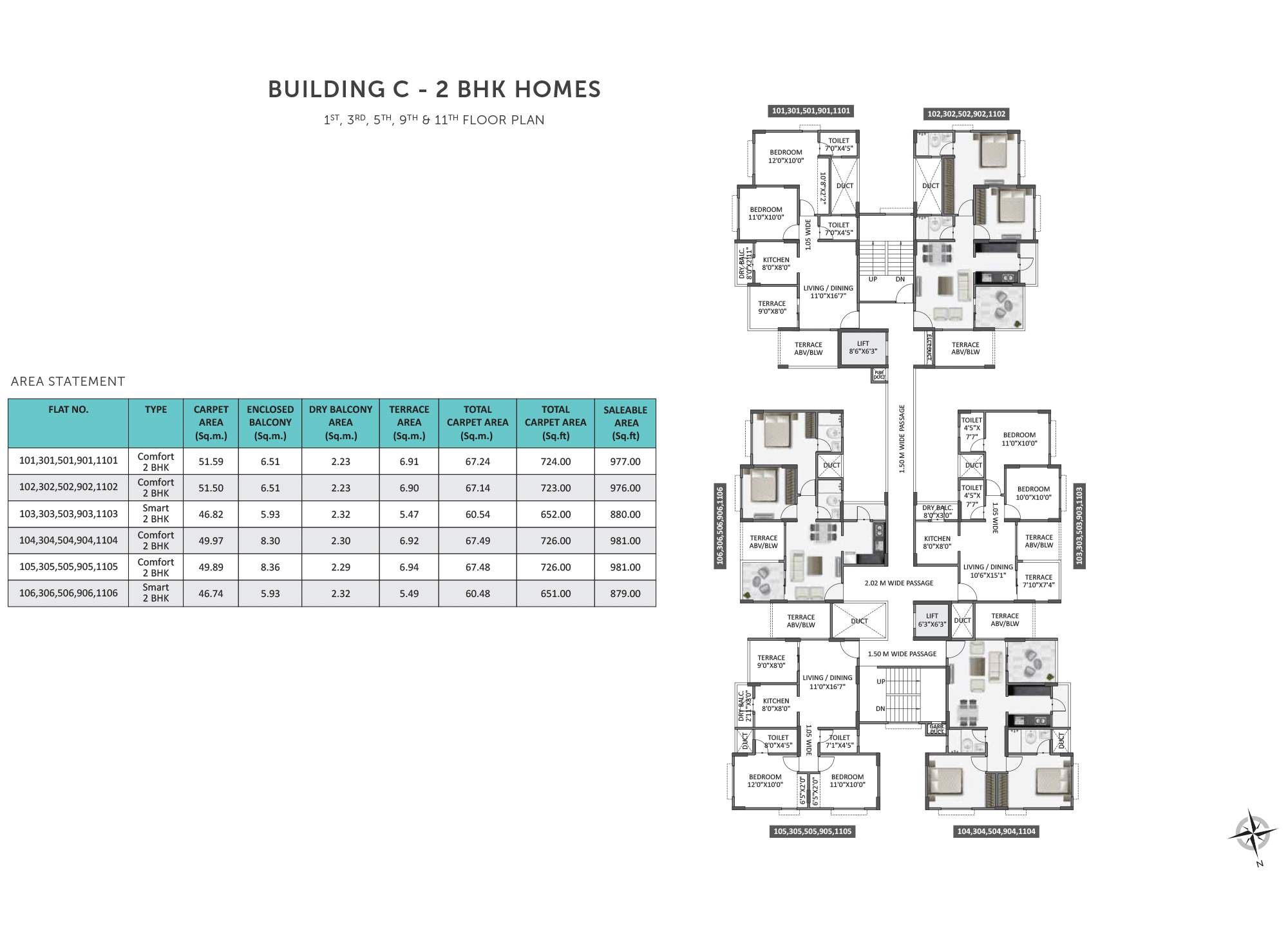 Equilife Homes_Building C 2BHK 1,3,5,9,11 FLOOR PLAN