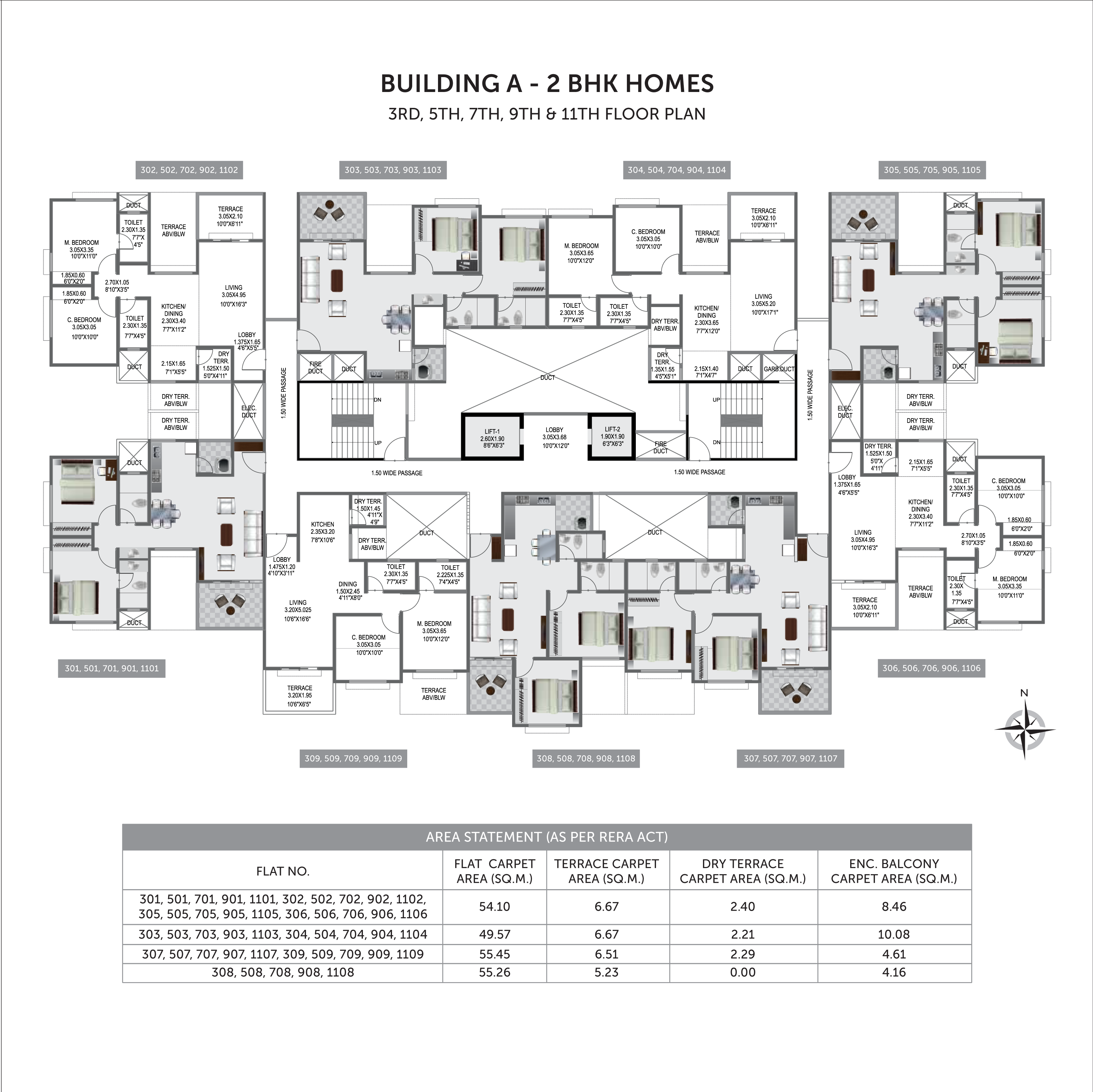 Pristine Prolife 3_Building A  - 3RD, 5TH, 7TH, 9TH & 11TH FLOOR PLAN