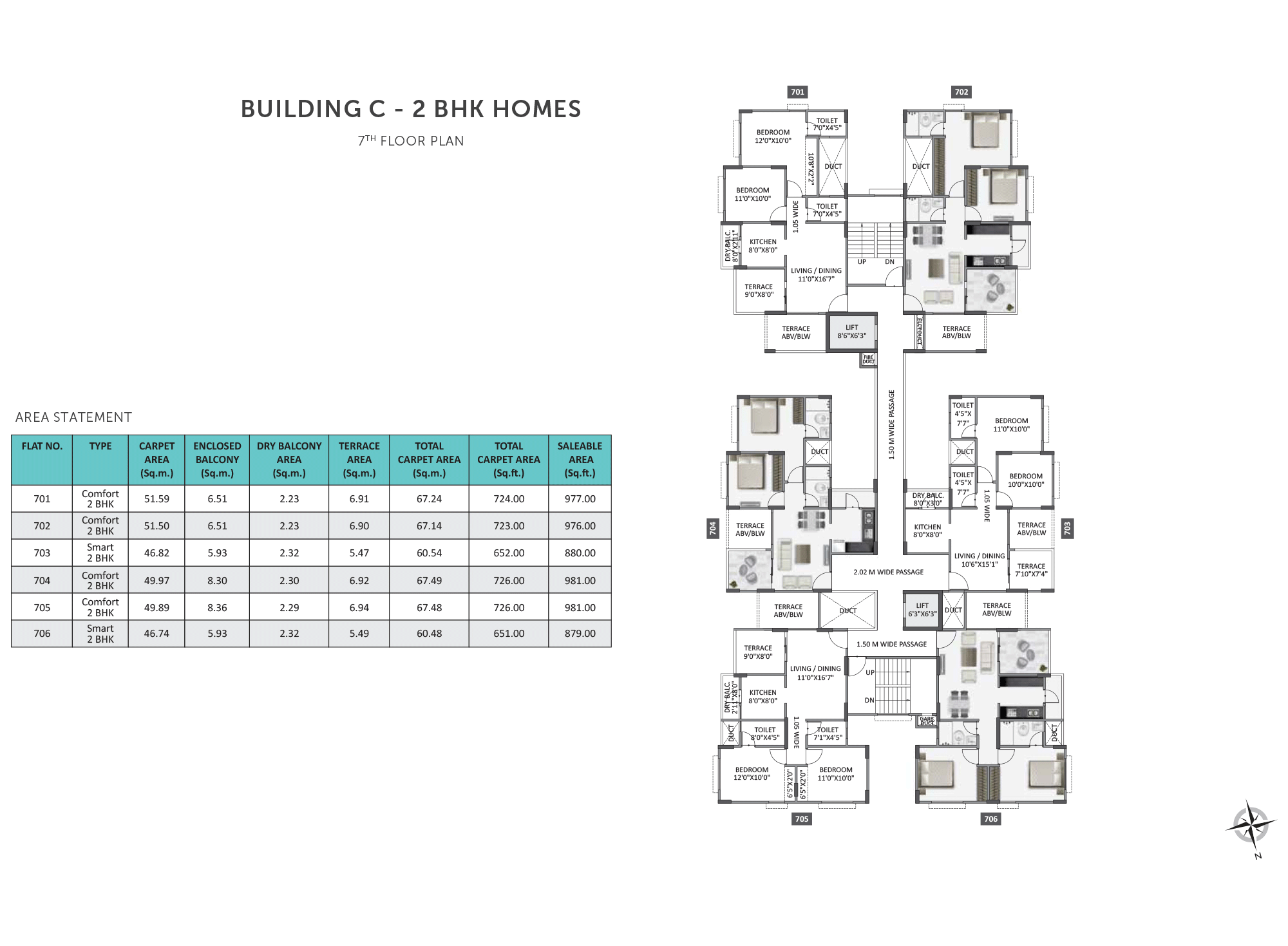 Equilife Homes_Building  C 2BHK 7 FLOOR PLAN