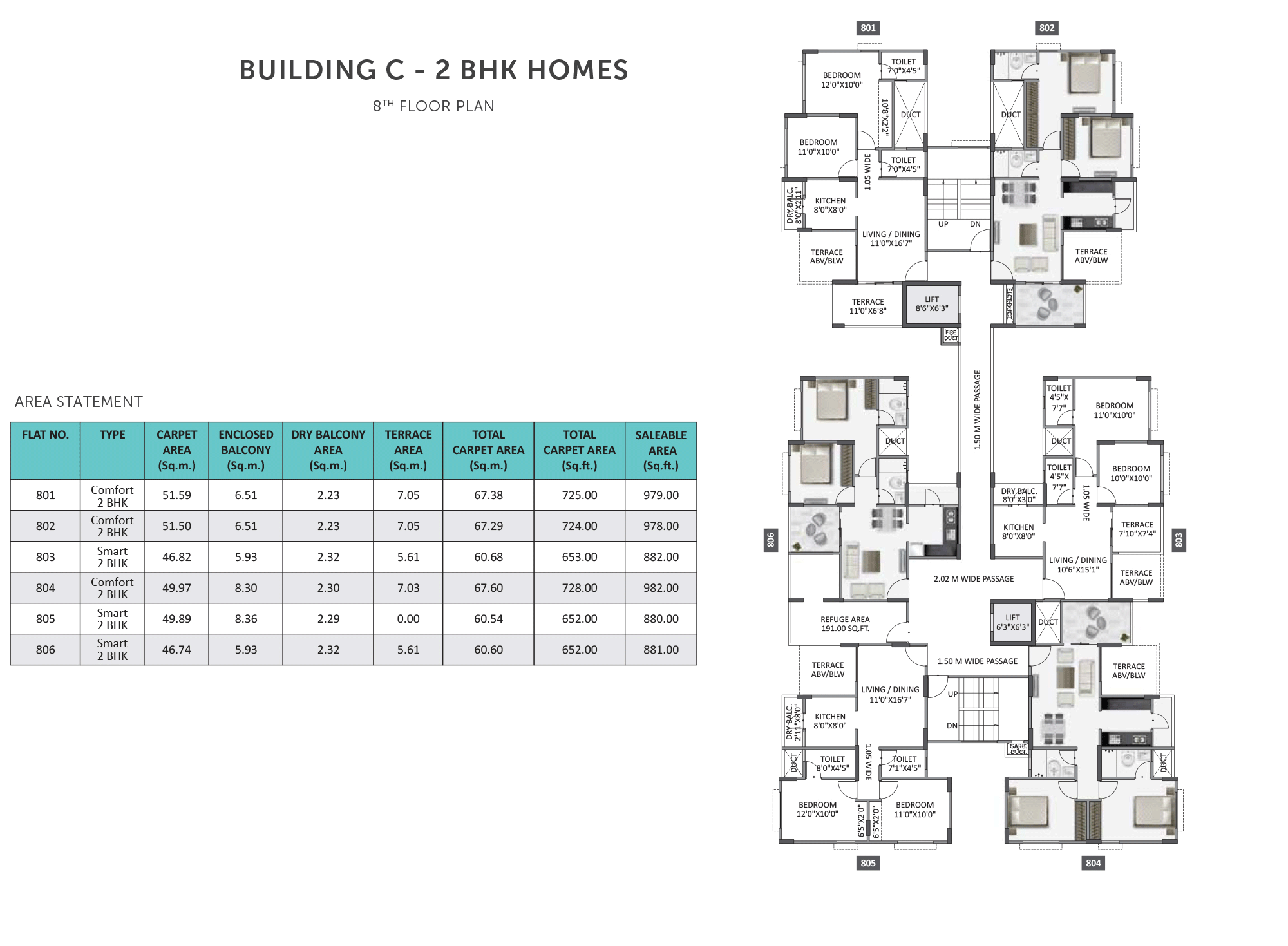 Equilife Homes_Building  C 2BHK 8 FLOOR PLAN
